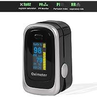 WINSUNY Oxímetro de Pulso Pulsioxímetro de Dedo y Monitor de Frecuencia Cardíaca,PI (Índice de perfusión), frecuencia respiratoria con Pantalla OLED, Alarma y Función de Auto-Apagado