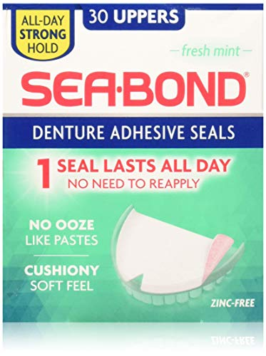 (SEA-BOND Denture Adhesive Wafers Uppers Fresh Mint 30 Each (Pack of 3) )