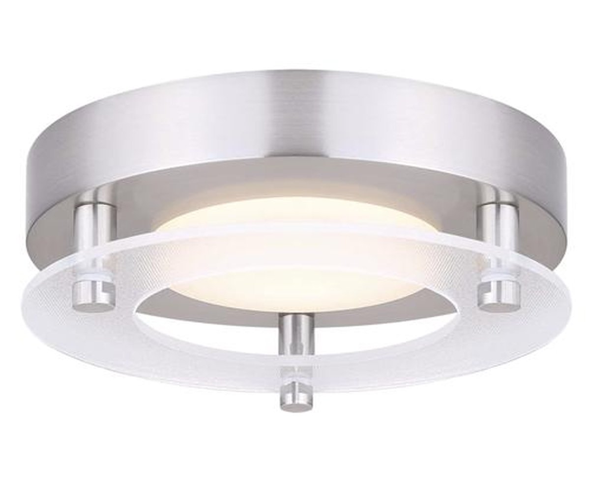 Led Flush Mount Ceiling Light up to 800 Lumens of Bright White Color - Dimmable, Brushed Nickel Finish and Frosted Acrylic Lens - Silver, 5''W x 5''H