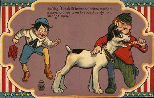 Dog Being Fed Candy by One Boy While Another Sneaks Up With Firecrackers in Hand Original Vintage - Dog Firecracker