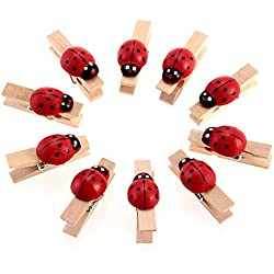 Coolrunner 10x Ladybug Wooden Pegs Birthday Baby Shower Craft Clips Clothespin Favour New Wedding Decoration