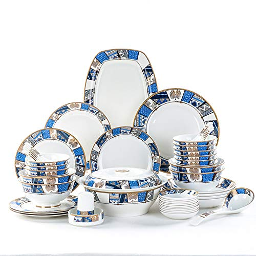 (YLee Bone China Tableware Set - 50 Pieces of Bone China Tableware/Chinese Healthy Tableware/not Easy to Break The Delicate Cutlery Set)
