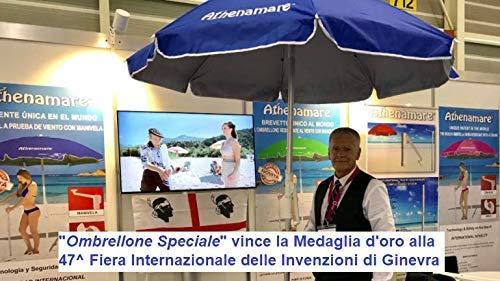 mit Spiralschraube und Kurbel internationalen Messe f/ür Erfindungen in Genf mit Goldmedaille ausgezeichnetes Patent Auf der 47 Athenamare Spezieller Sonnenschirm f/ür den Strand windbest/ändig