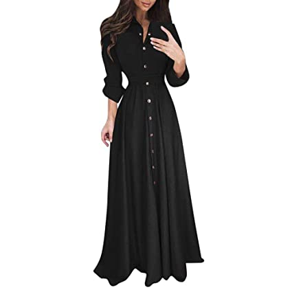 659046499d Amazon.com: Atezch Womens Lady Pure Color Maxi Dress Casual Fashion Lapel  Long Sleeve Solid Dresses: Sports & Outdoors