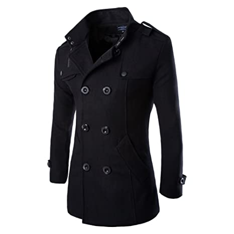 Vktech® Abrigo chaqueta de lana para hombres, doble abotonadura, para invierno, negro