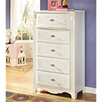 Exquisite Collection B188-46 31 5-Drawer Chest with Decorative Embossing Stain Nickel Color Hardware and Stylish Rosettes in White