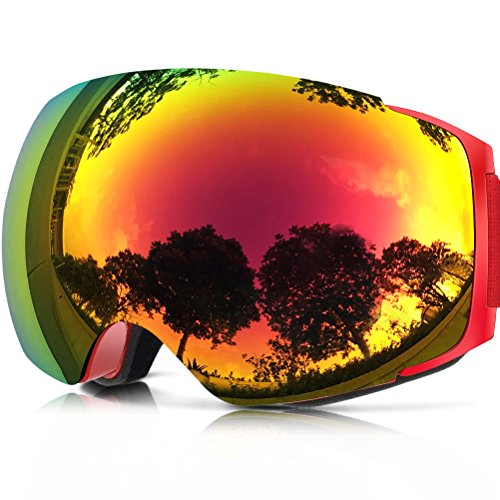 ZIONOR X4 Ski Snowboard Snow Goggles Magnet Dual Layers Lens Spherical Design Anti-fog UV Protection Anti-slip Strap for Men - Snowboard 180