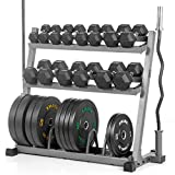 Cheap XMark POWERHOUSE Package Fully Loaded Dumbbell and Plate Weight Rack with Bar Storage, Voodoo 7′ Olympic Bar, Olympic EZ Curl Bar, 350 lb. Set of Hex Dumbbells and 280 lbs. of Olympic Bumpers
