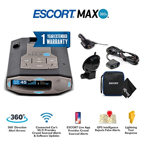 Escort 0100037-1 Max 360C Radar Laser Detector with Wi-Fi + Smart Direct Wire Cord + Extended Warranty & MicroFiber Cleaning Cloth - Starter Bundle