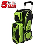 Moxy Bowling Products Deluxe Triple Roller Bowling Bag- Lime/Black