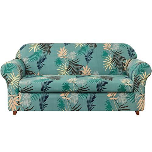 Subrtex 2-Piece Leaves Printed Stretch Sofa Slipcovers Soft Elastic Sofa Cover for 3 Seats (Sofa, Aqua Printed)