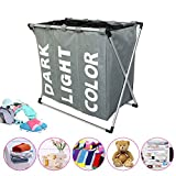 LUCKSTAR Laundry Hamper - Oxford Laundry Basket 3 Section Folding Laundry Sorter Hamper Dirty Clothes Washing Basket Storage Organizer with Mesh Lid and Handle for Dirty Clothes Baby Accessories(Grey)