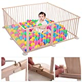 JAXPETY Baby Playpen Kids Safety 8 Panels Play Center Yard Home Indoor Outdoor New Pen (8, Wood)