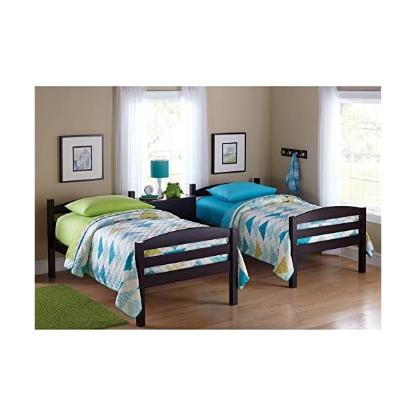 Easy-to-Convert to Twin Bed Practical Space Saver Wood Bunk Bed Multiple Finishes with Sturdy Frames Espresso