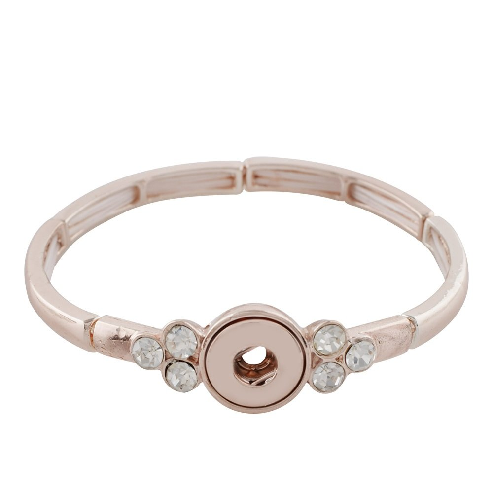My Prime Gifts Mini 12mm Snap Jewelry Rose Gold Rhinestone Stretch Bracelets Holds 12mm by