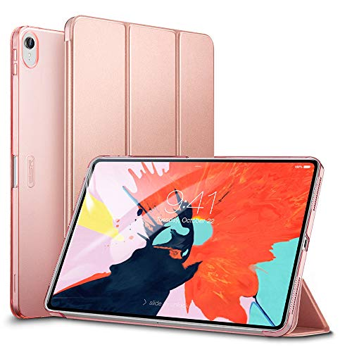 ESR Yippee Trifold Smart Case for iPad Pro 12.9 2018, Lightweight Stand Case,Auto Sleep/Wake[Apple Pencil Charging not Supported],Microfiber Lining, Hard Back Cover for iPad Pro 12.9 2018,Rose Gold