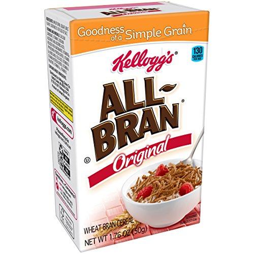 Kellogg's All-Bran, Breakfast Cereal, Original Wheat Bran, Excellent Source of Fiber, Single Serve, 1.76 oz Box(Pack of 70) -