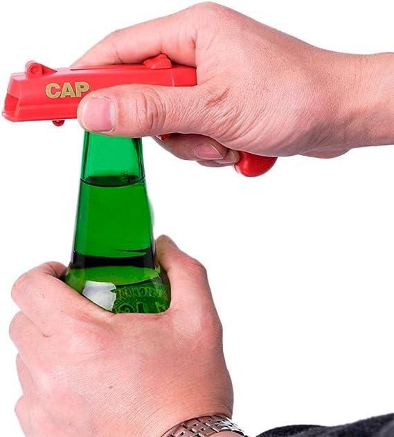 Lanceur de catapultes avec Capuchon de Ressort Ouvre-canettes en Forme de Pistolet Outil de Bar iTimo Ouvre-Bouteilles de bi/ère Rouge