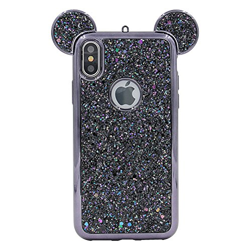 Tech Express 3D Mouse Ears Glitter Case for Apple iPhone XR Design Cover Chrome Bumper Bling Sparkle [TPU Gel Edge] Rhinestone Diamond Character Drop Protection XR (Black)