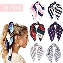 6 Pcs Hair Scarf Silk Hair Scrunchies Hair Bands Elastic Ties Print Bandana Ponytail Holder Vintage Accessories for Women Girls