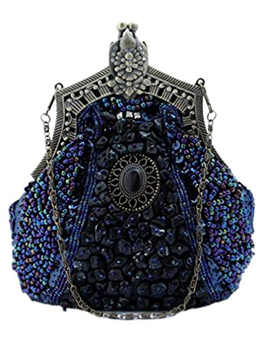Shoulder Purse Beaded Bywen Vintage Blue Womens Party Clutch Bags w4aFYtq