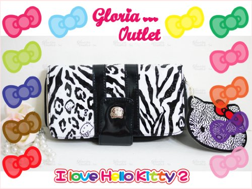 Hello Kitty Zebra Black and White Leopard Embossed Wallet Samwa0637 ()