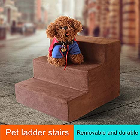 DirkFigge 3 Steps Dog Stairs Foam Pet Ramp Ladder for Cats Dogs Easy Step Lightweight Pet Ladders