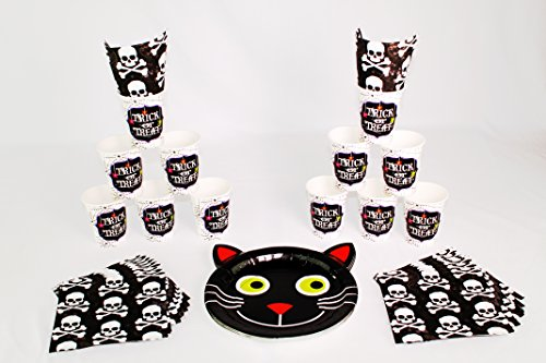 [Spooky Day of the Dead Halloween Decorations Party Tableware : Black Cat and Skulls Set] (666 Halloween Costume)