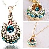 Fashion 18k gold Genuine Teardrop Colorful Elegant Rhinestone Crystal Necklace