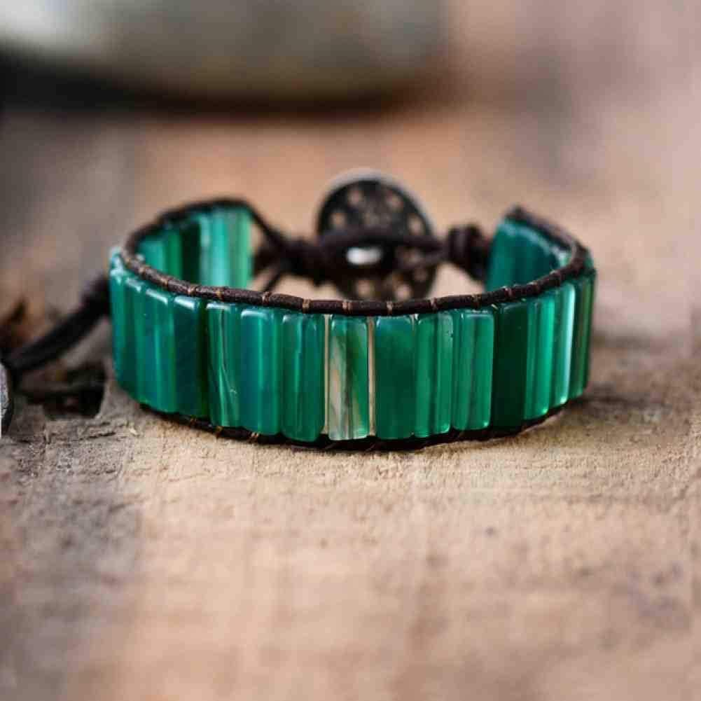 CMAO Para Mujer Boho Pulseras en Forma de Tubo Onyx Verde Sola Pulsera del Abrigo del Cuero Piedra Semi Preciosa con Cuentas Abalorios Pulsera