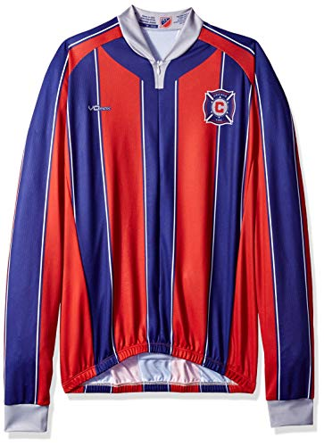 MLS Chicago Fire Men's Original Striped Long Sleeve Cycling Jersey, Medium, Red