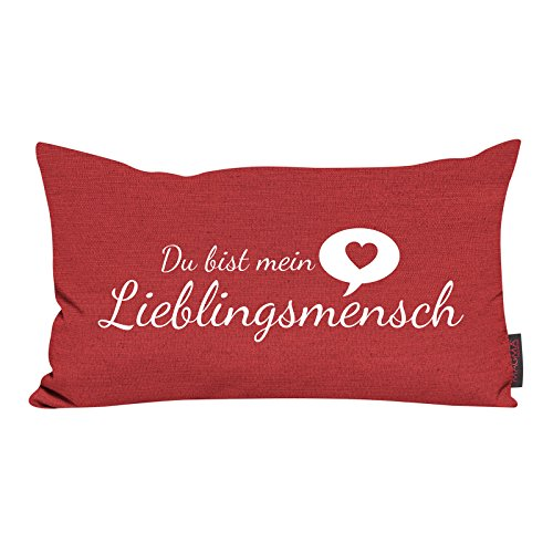 Kissen Lieblingsmensch tomate 30x50cm Made in Germany