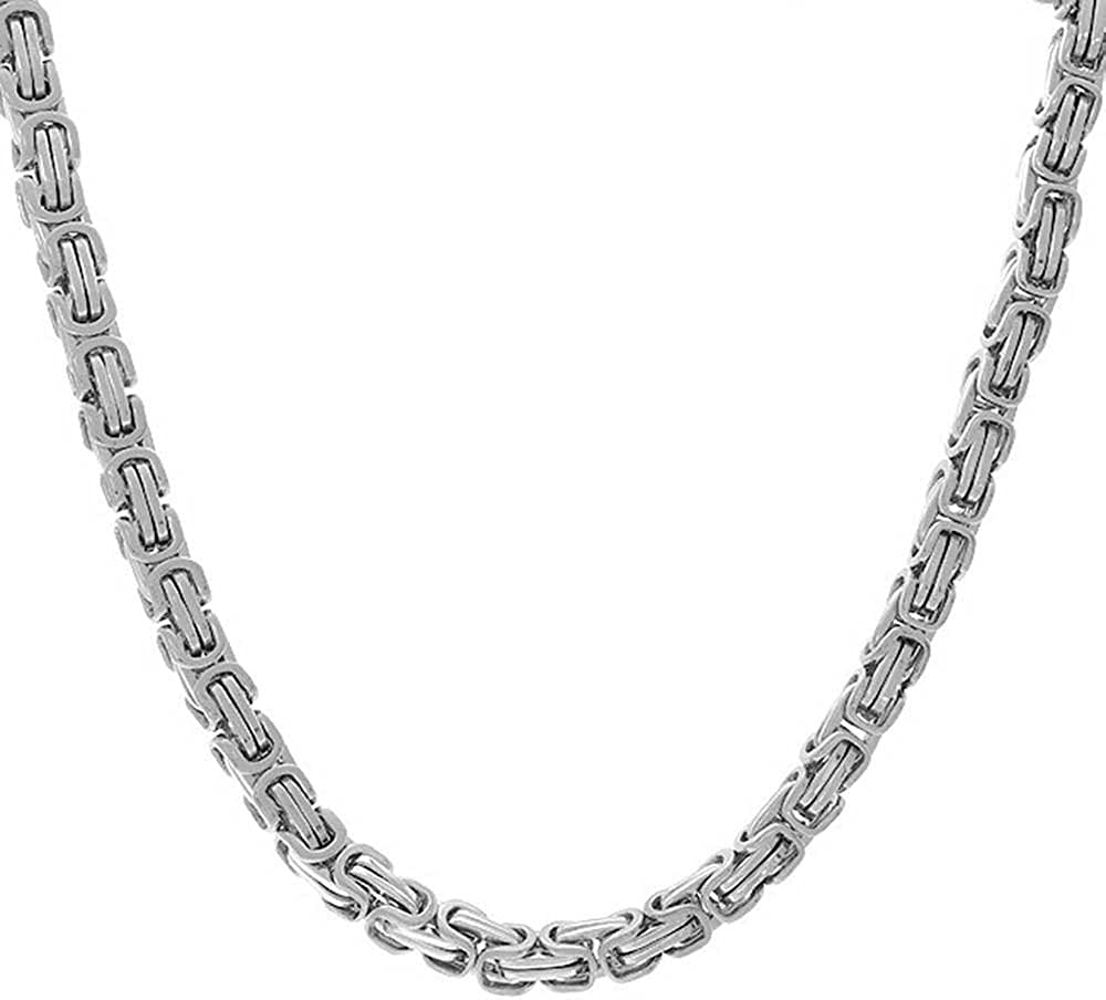 Mechanic Byzantine Biker Urban Heavy Chain Necklace for Men for Teen Silver Tone Stainless Steel 20 Inch
