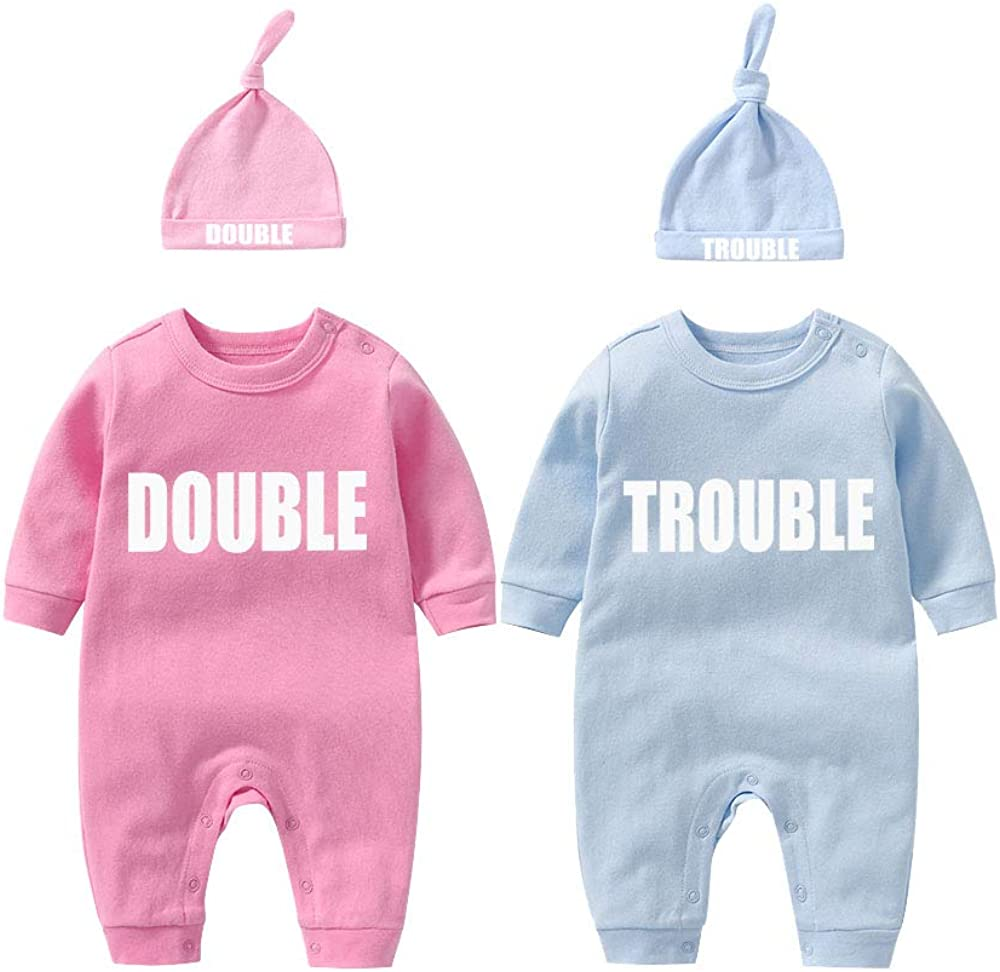 YSCULBUTOL Twins Bodysuits Funny Double Trouble Pack of 2 Twins Set with hat