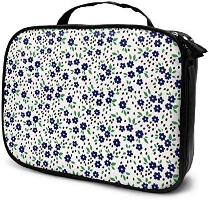 Floral Pequeñas Flores Azul Marino Bolsas de Maquillaje de Viaje Estuche de Maquillaje para niñas Bolso de Belleza para Hombres Bolsa Impresa multifunción para Mujeres: Amazon.es: Equipaje
