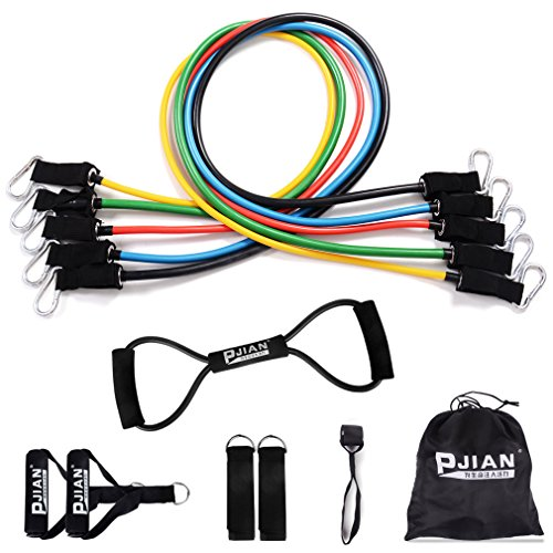 PIN JIAN Rubber Resistance Band Set, 12 Pieces