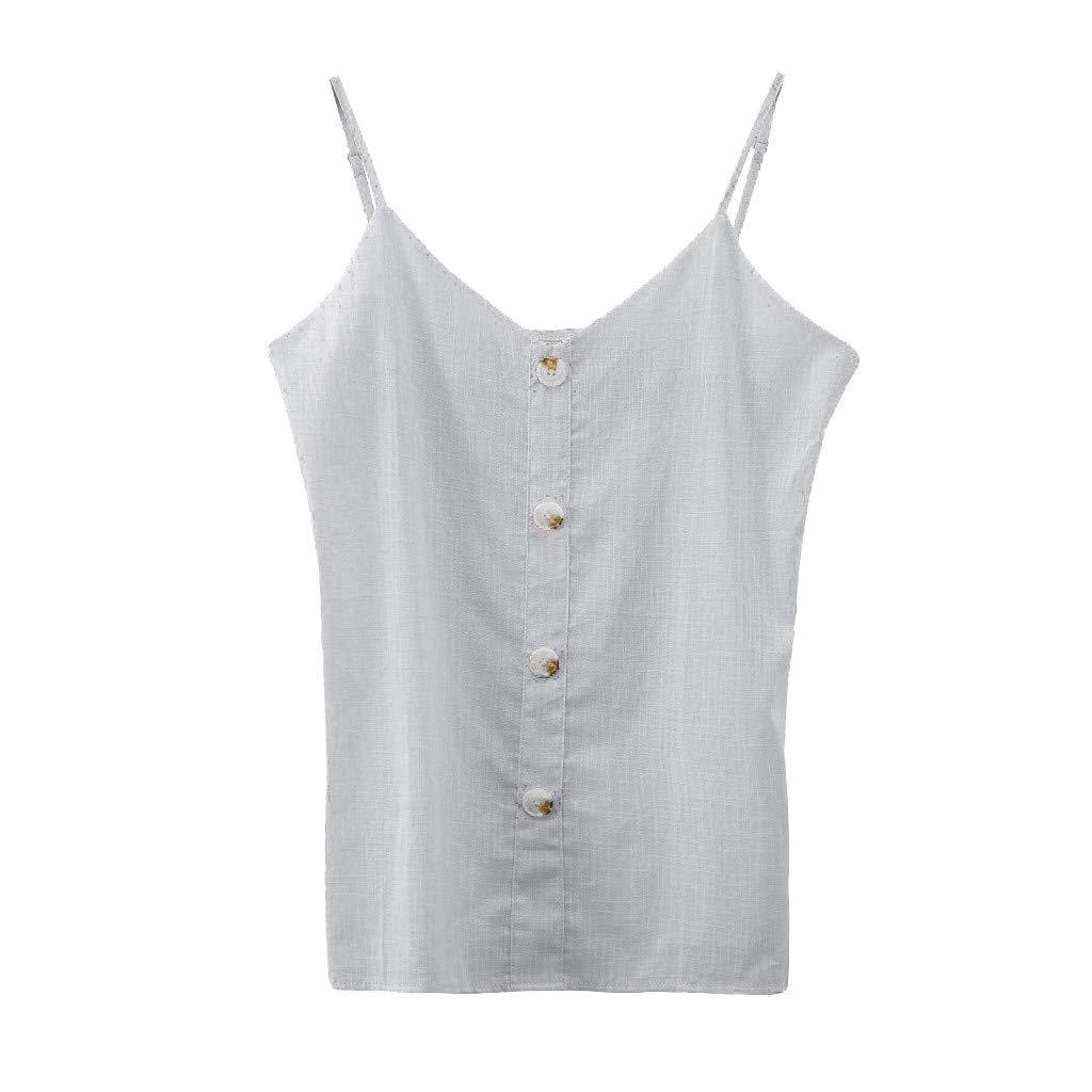 Dainzuy Women Tank Tops,Fashion Women's Casual Spaghetti Strap Button Front Tie Front V Neck Sleeveless Blouses Tank Tops Beige by Dainzuy Women Tops (Image #5)
