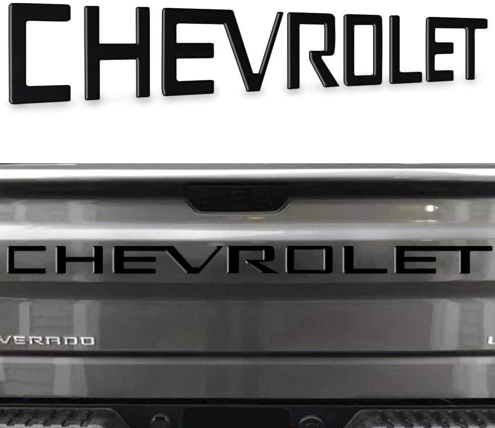 Tailgate Letters Insert Raised Plastic Fit 2019 Chevrolet Silverado Matte Black
