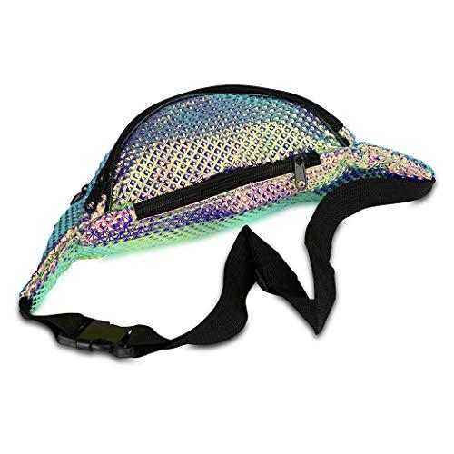 eef9c018ca79 FACE1ST Multicolored Hologram Waist Iridescent Bum Bag Mermaid Unicorn  Style Fanny Pack - Assorted Colors - Travel