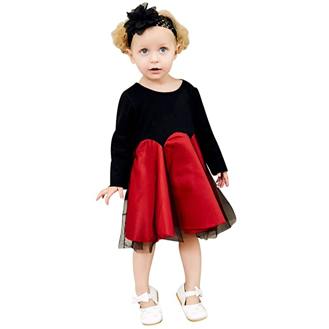 Yiiquanan Bebé Niña Verano Manga Larga Casual Falda Vestido de Fiesta de Princesa Lindo Tul de