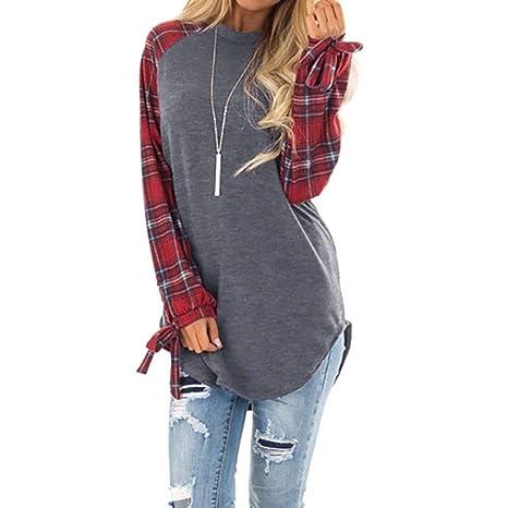 Linlink_Abrigo de Mujer Temporada de otoño e Invierno La Moda Casual Plaid Manga Larga Jersey Blusa Camisas Sudadera: Amazon.es: Ropa y accesorios