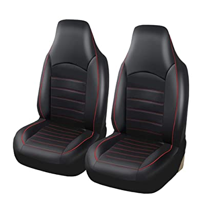 AUTOYOUTH PU Leather Front Car Seat Covers Fashion Style High Back Bucket Car Seat Cover Auto Interior Car Seat Protector 2PCS For Toyota: Automotive