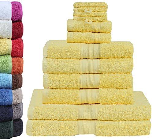 Green Mark TextilienSet Van 10 Premium Kwaliteit Badhanddoeken 100 Katoen Geel