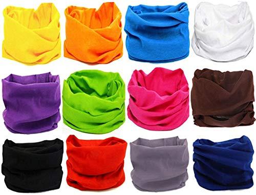 KALILY 12PCS Headband Bandana - Versatile 16-in-1 Sports & Casual Headwear -Neck Gaiter, Balaclava, Helmet Liner, Face Mask for ATV/UTV Riding, Seamless Lightweight Headband with UV Protection