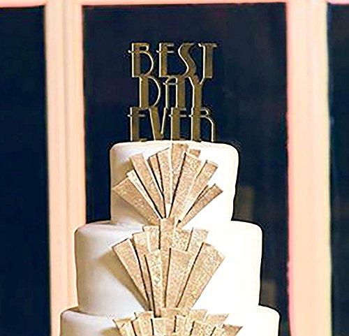 Best Day Ever Cake Topper Gatsby Style - Gold Mirror Silver Mirror - Gold Art Deco Silver Art Deco Vintage Wedding Cake - Gatsby Mirror