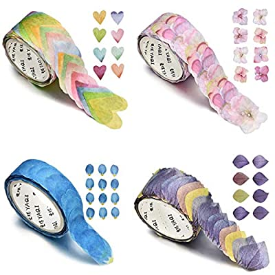 4 Roll Creative Flower Petal Washi Tape, Masking Tape Decorative Decals, DIY Petal Stickers for Scrapbooking, Diary, Bullet Journal, Planner, 200 Petals/Roll from EDO