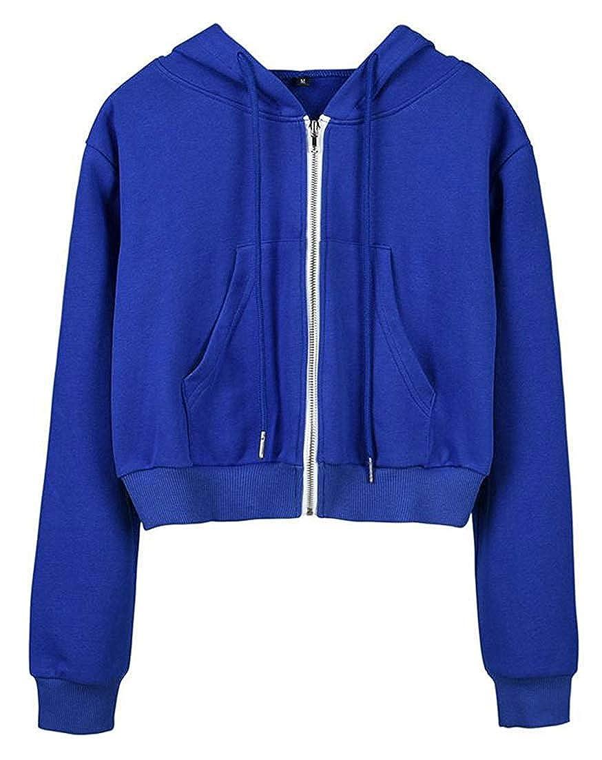 Hadudu Women Slim Long Sleeve Tops Activewear Cropped Jacket Full-Up Pure Color Hoodies Sweatshirts