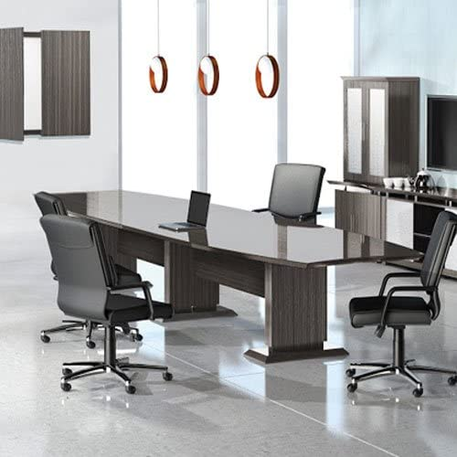 8ft Table /& 6 Chairs w// 0 Power Module, Textured Brown Sugar 8 Foot 16 Foot Modern Conference Table /& Chairs Set for Meeting Boardroom Office