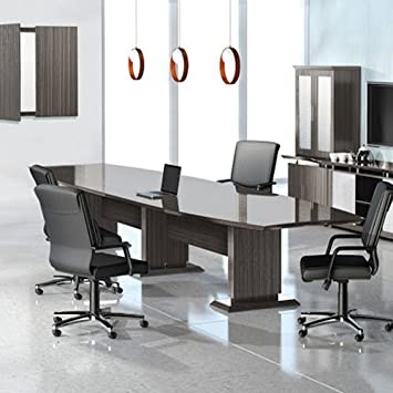 8ft - 16ft Modern Designer Conference Room Table, Office Meeting Boardroom, 10ft 12ft 14ft (12ft w/ 2 Power Modules, Textured Driftwood)