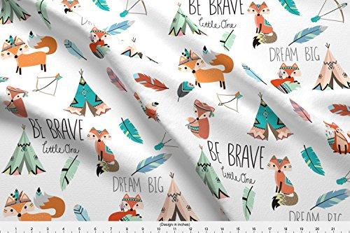 [해외]Spoonflower fox 패브릭 용감한 작은 여우에 의해 벅 스 디자인 co 인쇄 기본 면 울트라 패브릭 마당에 의해 / Spoonflower Fox Fabric Brave Little Fox by Buckwoodsdesignco Printed on Basic Cotton Ultra Fabric by The Yard